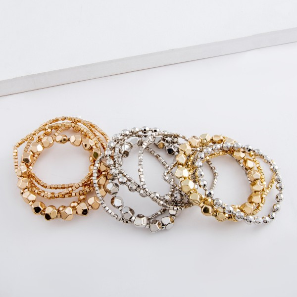 """Rhodium tone multi beaded stretch bracelet set.  - 5pcs/set - Approximately 3"""" in diameter unstretched - Fits up to a 7"""" wrist"""