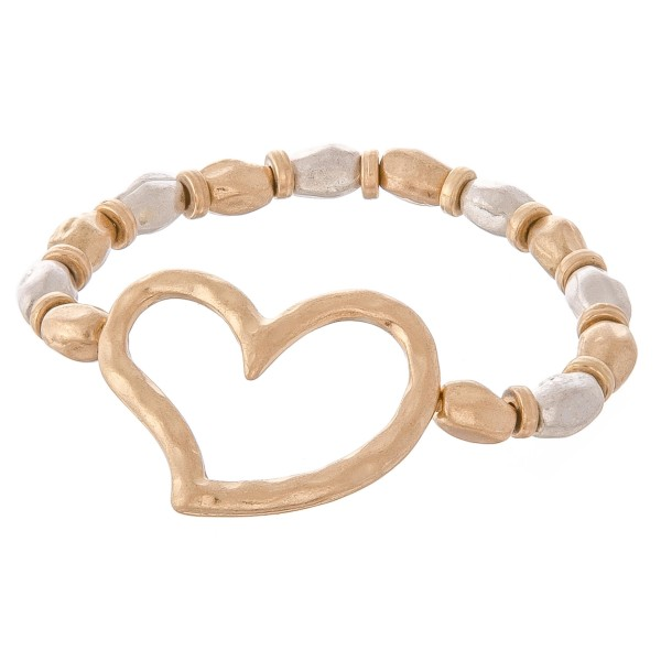"Two Tone Hammered Beaded Heart Stretch Bracelet.  - Heart 1.5""  - Approximately 3"" in diameter unstretched - Fits up to a 7"" wrist"