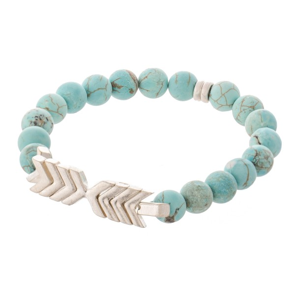 "Semi Precious Natural Stone Beaded Arrow Stretch Bracelet.  - Approximately 3"" in diameter unstretched - Fits up to a 7"" wrist"