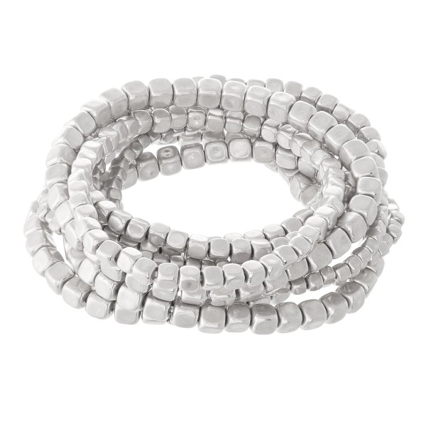 "Block Beaded Stacking Stretch Bracelet Set in Worn Silver.  - 9pcs/set - 2mm, 3mm, 4mm Bead Sizes - Approximately 3"" in diameter - Fits up to a 7"" wrist"