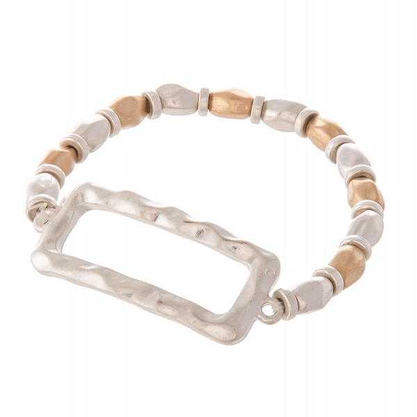 "Two Tone Hammered Beaded Rectangle Stretch Bracelet.  - Rectangle 1.5""  - Approximately 3"" in diameter unstretched - Fits up to a 7"" wrist"