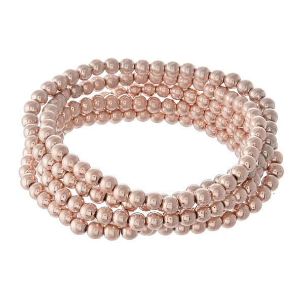 "Beaded Ball Stacking Bracelet Set in Worn Rose Gold.  - 5pcs/set - 3.5mm Bead Size - Approximately 3"" in diameter - Fits up to a 7"" wrist"