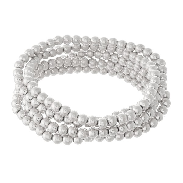 "Beaded Ball Stacking Bracelet Set in Worn Silver.  - 5pcs/set - 3.5mm Bead Size - Approximately 3"" in diameter - Fits up to a 7"" wrist"