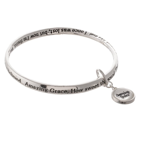 "Inspirational Antique Silver Stamped ""Amazing Grace"" Dome Charm Bracelet.  - ""Amazing Grace, how sweet the sound  That saved a wretch like me!   I once was lost, but now I'm found,  Was blind, but now I see.  Twas grace that taught my heart to fear  And grace my fears relieved   How precious did that grace appear  The hour I first believed.""  - Approximately 3"" in diameter - Fits up to a 6"" wrist"