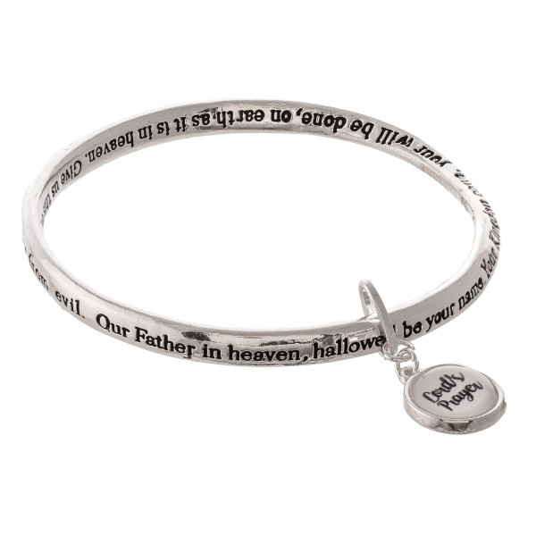 "Inspirational Antique Silver Stamped ""Lords Prayer"" Dome Charm Bracelet.  - ""Our Father which art in heaven,  Hallowed be they name.  They Kingdom come, Thy will be done in earth  as it is in heaven. Give us this say our daily bread.  And forgive us our debts, as we forgive our debtors.  And lead us not into temptation, but deliver us from evil:  For thine is the kingdom, and the power,   and the glory, forever.  Amen.""  - Approximately 3"" in diameter - Fits up to a 6"" wrist"