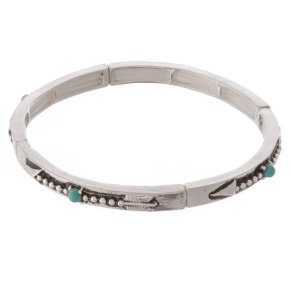 """Turquoise silver arrow stud bangle stretch bracelet.  - Approximately 3"""" in diameter unstretched - Fits up to a 7"""" wrist"""