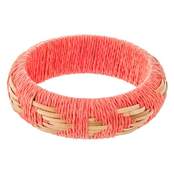 "Raffia Straw Woven Statement Bangle Bracelet.  - Approximately 3"" in diameter - Fits up to a 6"" wrist"