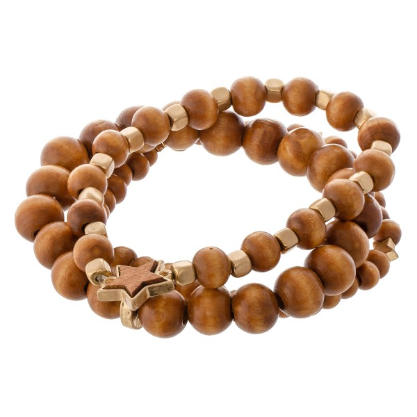 "Wood beaded star stretch bracelet set.  - 3pcs/set - Approximately 3"" in diameter - Fits up to a 7"" wrist"