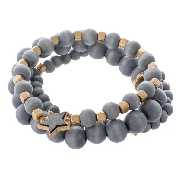 Wholesale wood beaded star stretch bracelet set pcs set diameter Fits up wrist