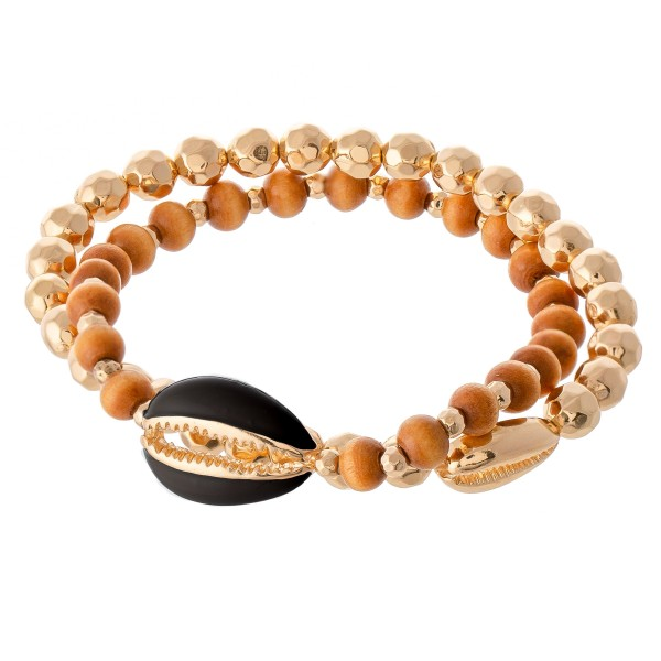 """Bracelet set featuring a gold beaded bracelet with a puka shell accent and a wooden bead bracelet featuring an enamel colored puka shell accent.  - Fits up to a 7"""" wrist"""