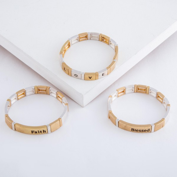 """Enamel Coated """"Blessed"""" Stamped Tile Stretch Bracelet in Worn Gold.  - Approximately 3"""" in diameter unstretched - Fits up to a 7"""" wrist"""