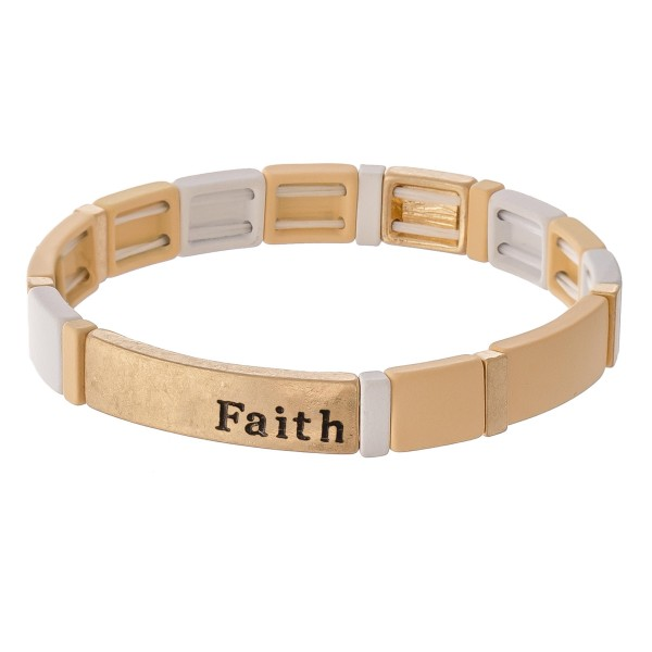 """Enamel Coated """"Faith"""" Stamped Tile Stretch Bracelet in Worn Gold.  - Approximately 3"""" in diameter unstretched - Fits up to a 7"""" wrist"""