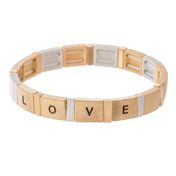"""Worn enamel coated """"Love"""" stamped color blockstretch bracelet.  - Approximately 3"""" in diameter unstretched - Fits up to a 7"""" wrist"""