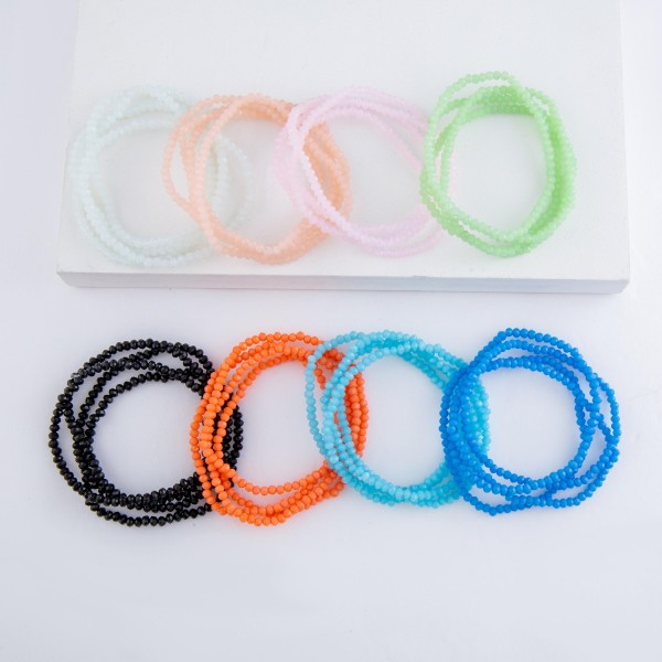 """Dainty faceted beaded stretch bracelet set.  - 4pcs/set - Approximately 3"""" in diameter unstretched - Fits up to a 7"""" wrist"""