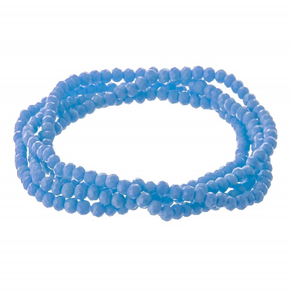 "Dainty faceted beaded stretch bracelet set.  - 4pcs/set - Approximately 3"" in diameter unstretched - Fits up to a 7"" wrist"