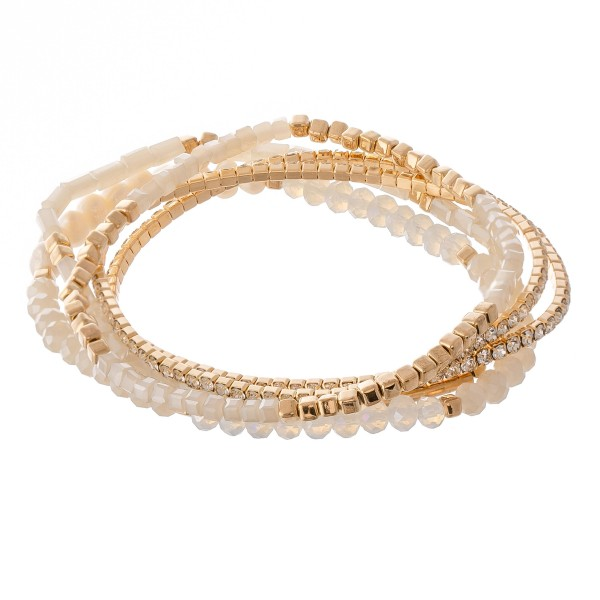 Wholesale semi precious beaded freshwater pearl stretch bracelet set rhinestones