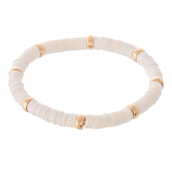 "Rubber Heishi Beaded Stretch Bracelet Featuring Gold Bead Accents.  - Approximately 3"" in Diameter"