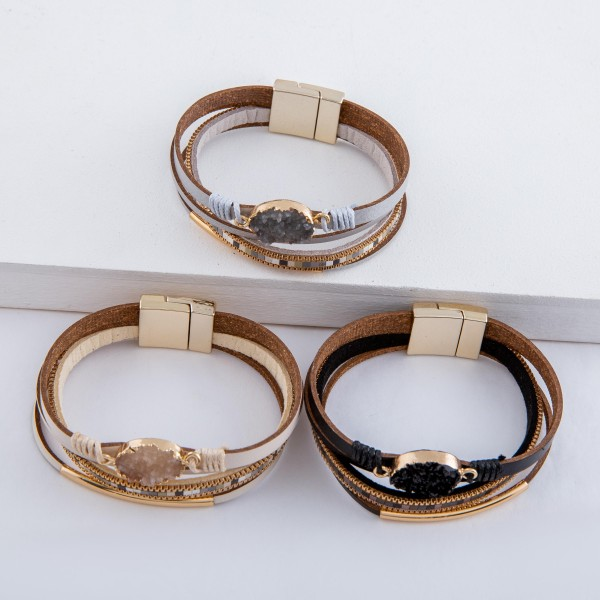 """Druzy faux leather color block magnetic bracelet with thread wrapped accents.  - Magnetic closure - Approximately 3"""" in diameter - Fits up to a 6"""" wrist"""