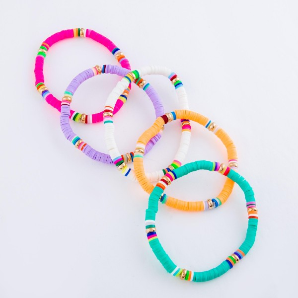 """Rubber Heishi Beaded Stretch Bracelet Featuring Multicolor Details.  - Approximately 3"""" in Diameter"""