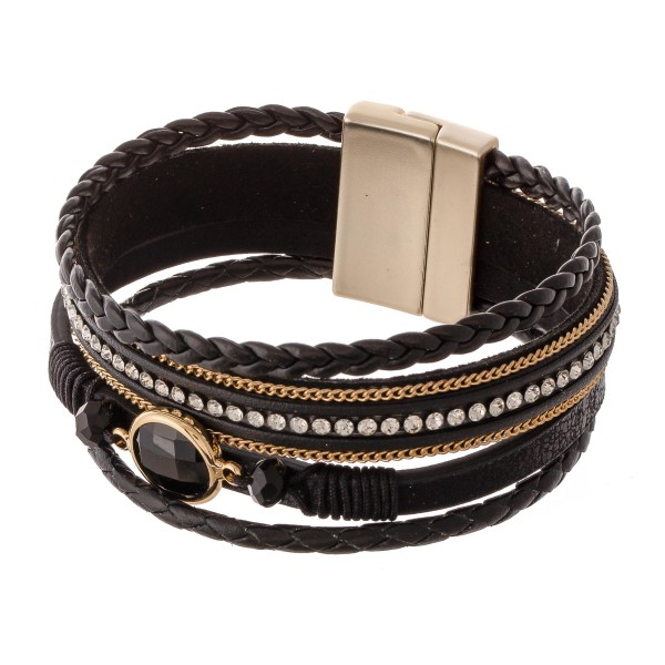 "Braided Multi Strand Faux Leather Magnetic Bracelet Featuring Rhinestone and Stone Details.  - Magnetic Closure - Approximately 3"" in Diameter - Fits up to a 6"" Wrist"