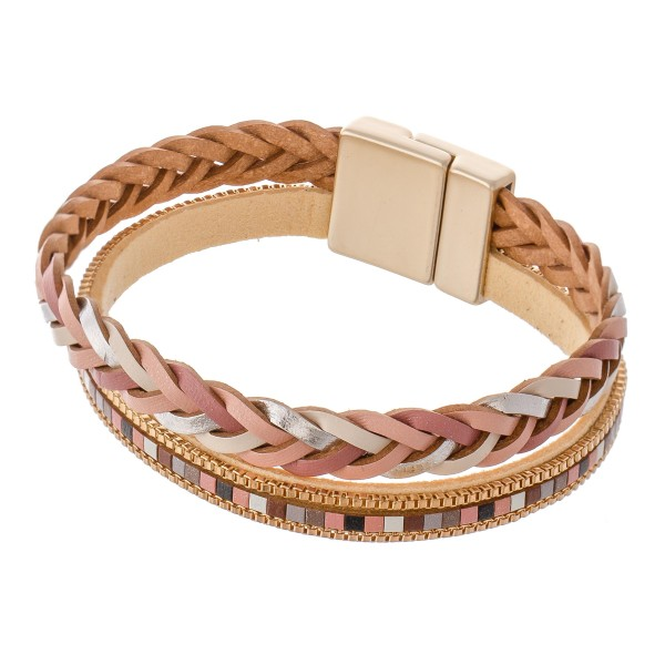 "Braided faux leather color block magnetic bracelet.  - Magnetic closure - Approximately 3"" in diameter - Fits up to a 6"" wrist"