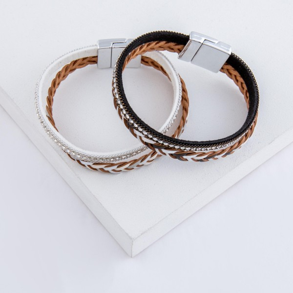 "Braided faux leather rhinestone magnetic bracelet.  - Magnetic closure - Approximately 3"" in diameter - Fits up to a 6"" wrist"