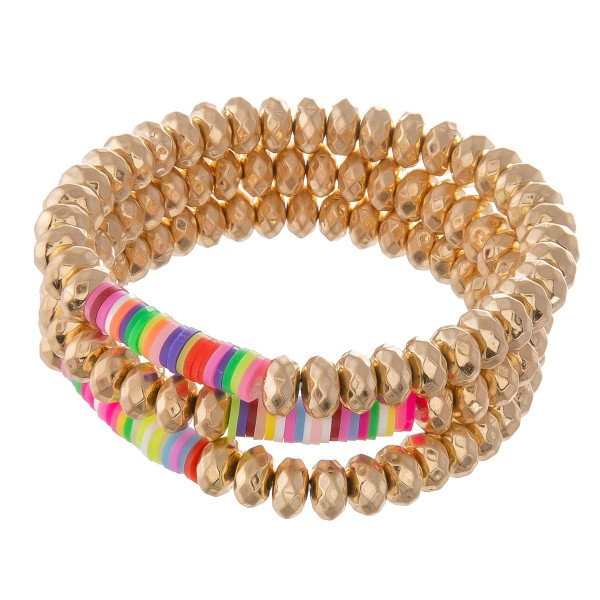 "Worn Faceted Beaded Stretch Bracelet Set with Multicolor Spacer Bead Details.  - 3pcs/set - Approximately 3"" in diameter - Fits up to a 7"" wrist"