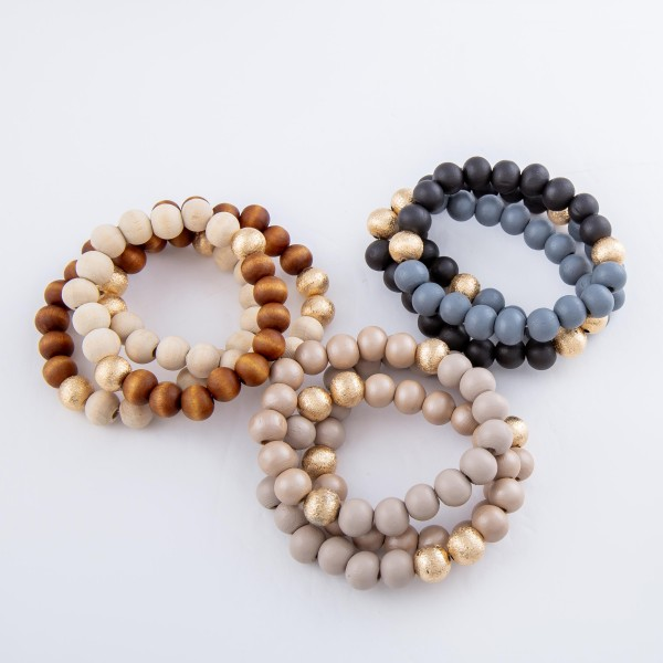 """Two Tone Wood Beaded CCB Stretch Bracelet Set.  - 3pcs/set - Approximately 3"""" in diameter - Fits up to a 7"""" wrist"""