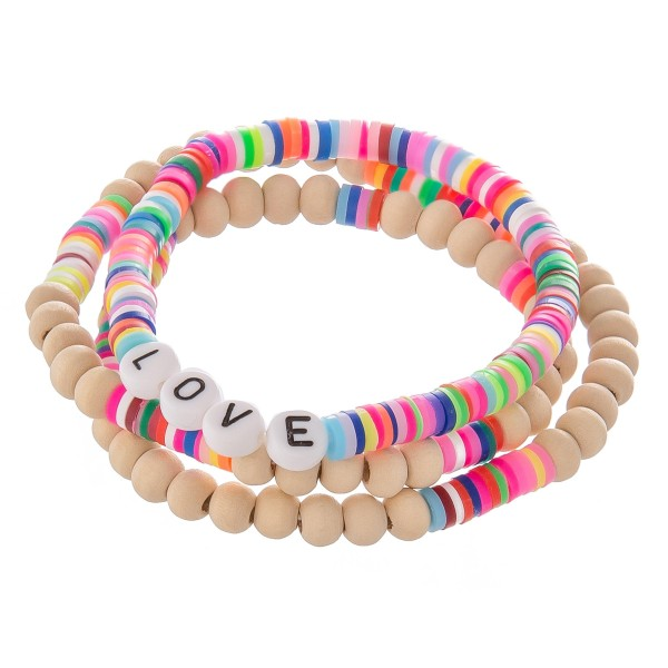 "Wood Beaded ""Love"" Letter Block Stretch Bracelet Set with Multicolor Spacer Details.  - 3pcs/set - Approximately 3"" in diameter  - Fits up to a 7"" wrist"