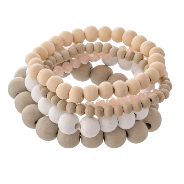 """Multicolor Wood Beaded Stacking Stretch Bracelet Set with Faceted Details.  - 5pcs/set - 5mm, 7mm, 10mm Bead Sizes - Approximately 3"""" in diameter - Fits up to a 7"""" wrist"""