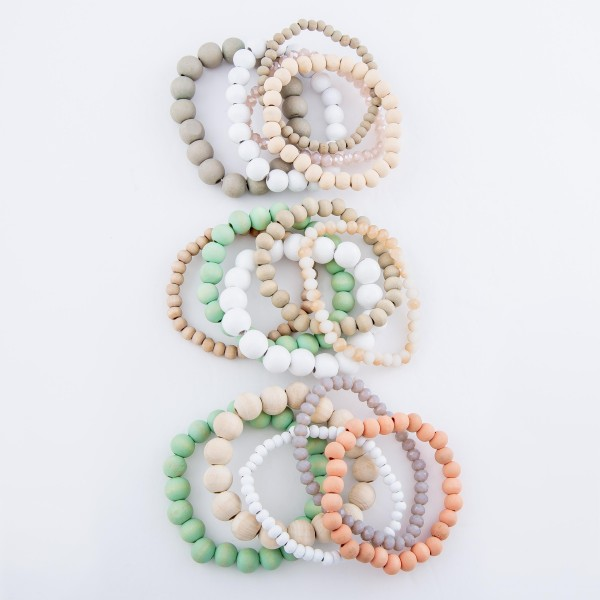 "Multicolor Wood Beaded Stacking Stretch Bracelet Set with Faceted Details.  - 5pcs/set - 5mm, 7mm, 10mm Bead Sizes - Approximately 3"" in diameter - Fits up to a 7"" wrist"