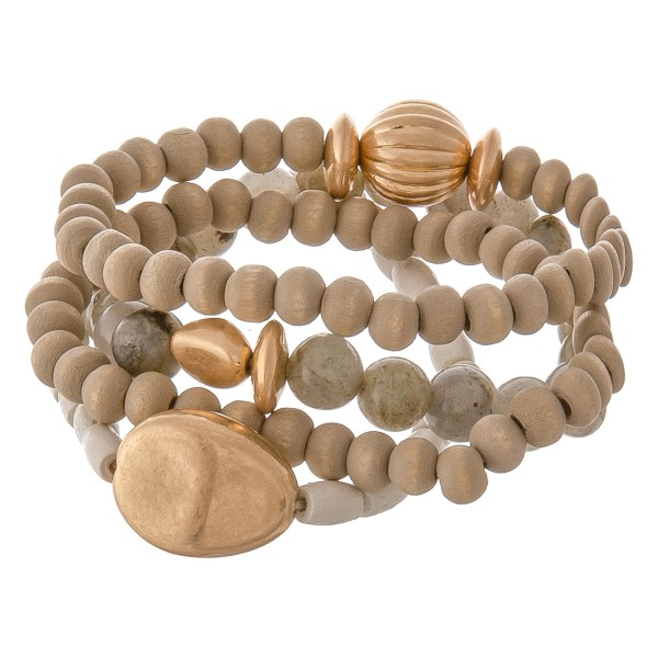 "Wood beaded natural stone stretch bracelet set with gold accents.  - 4pcs/set - Approximately 3"" in diameter unstretched - Fits up to a 7"" wrist"