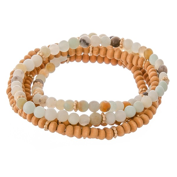 "Natural stone wood beaded stretch bracelet set.  - 5pcs/set - Approximately 3"" in diameter unstretched - Fits up to a 7"" wrist"