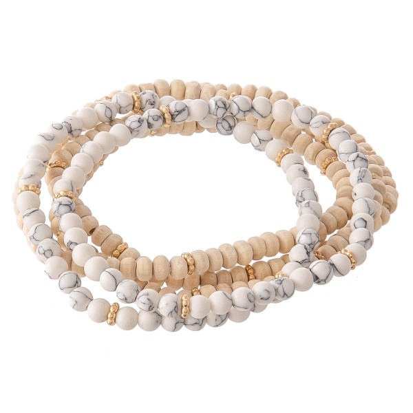 Wholesale natural Stone Wood Beaded Stretch Bracelet Set pcs set diameter unstre
