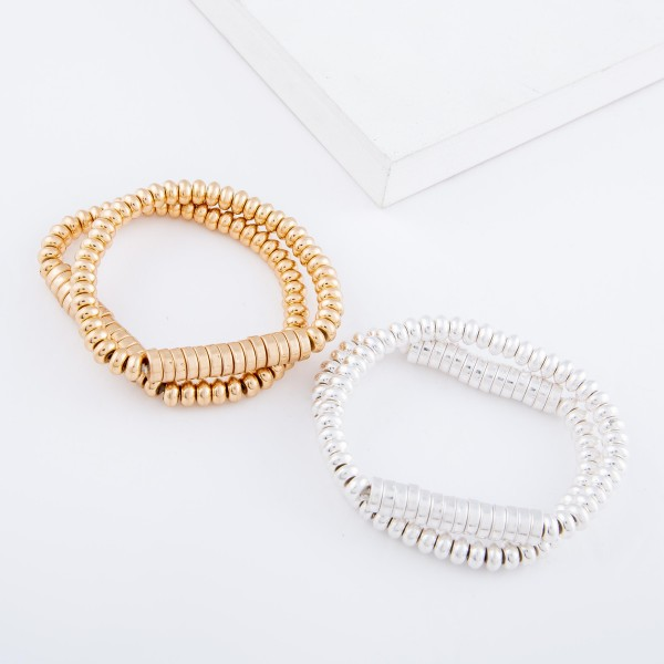 """Heishi Rondelle Beaded Stretch Bracelet Set in Worn Silver.  - 2pcs/set - Approximately 3"""" in diameter - Fits up to a 7"""" wrist"""