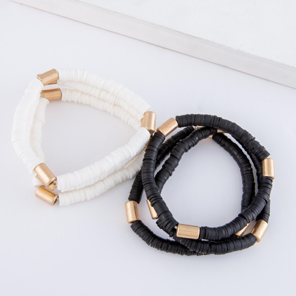 "Spacer Beaded Stretch Bracelet Set with Gold Cylinder Bead Accents.  - 3pcs/set - Approximately 3"" in diameter - Fits up to a 7"" wrist"