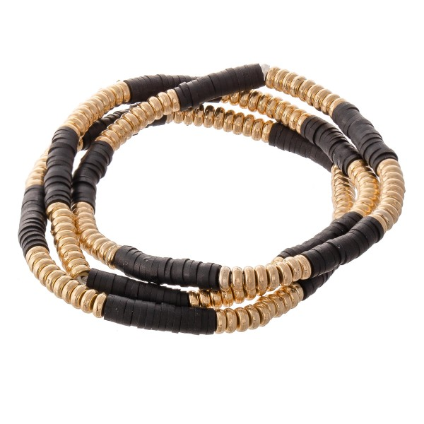 "Heishi Rondelle Beaded Boho Stretch Bracelet Set.  - 3pcs/set - Approximately 3"" in diameter unstretched - Fits up to a 7"" wrist"