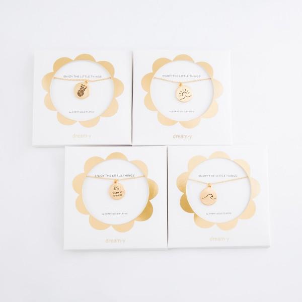 "24 Karat Gold Plated Sunset Stamped Pendant Necklace.  - Pendant .5""  - Approximately 18"" L  - 3"" Adjustable Extender"