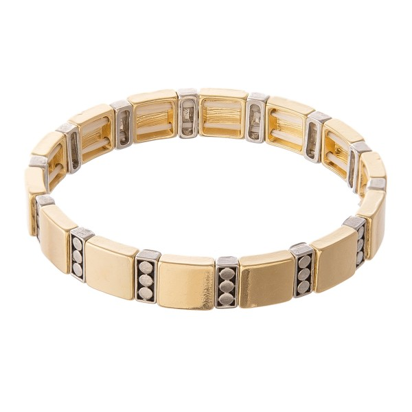 "Two Tone Antique Tile Stretch Bracelet.  - Approximately 3"" in diameter - Fits up to a 7"" wrist"