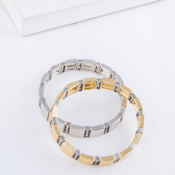 """Antique Metal Tone Tile Stretch Bracelet.  - Approximately 3"""" in diameter - Fits up to a 7"""" wrist"""