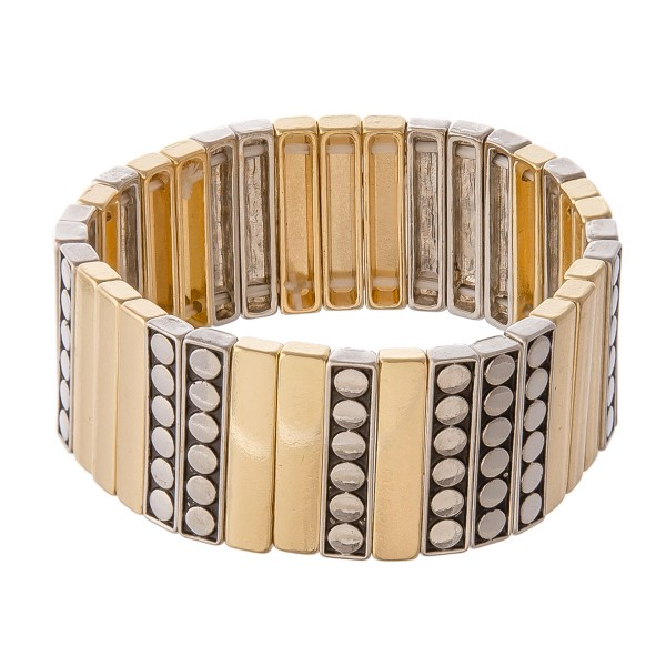 "Two Tone Antique Metal Tile Statement Stretch Bracelet.  - Approximately 3"" in diameter - Fits up to a 7"" wrist"