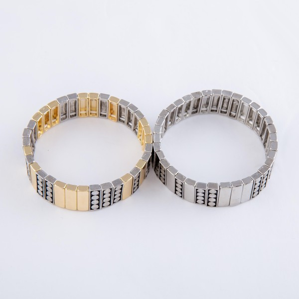 "Two Tone Antique Metal Tile Stretch Bracelet.  - Approximately 3"" in diameter - Fits up to a 7"" wrist"