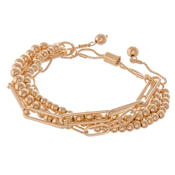 "CCB Hera Chain Link Layered Bolo Bracelet.  - Approximately 3"" in diameter - Fits up to an 8"" wrist"