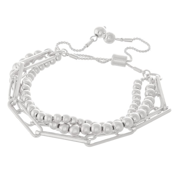 "CCB Hera Chain Link Layered Bolo Bracelet In Worn Silver.  - Approximately 3"" in diameter - Fits up to an 8"" wrist"