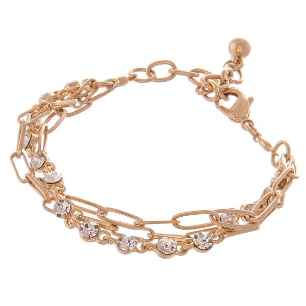 "Rhinestone Hera Chain Link Layered Bracelet.  - Approximately 3"" in diameter - Fits up to an 7"" wrist - Adjustable 1"" Extender"