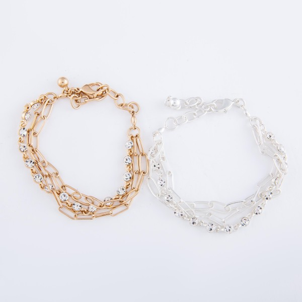 """Rhinestone Hera Chain Link Layered Bracelet.  - Approximately 3"""" in diameter - Fits up to an 7"""" wrist - Adjustable 1"""" Extender"""