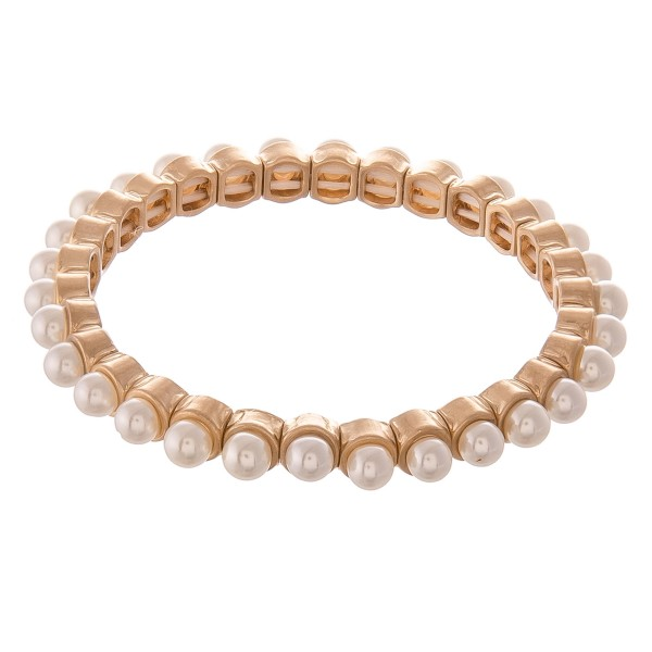 """Pearl Stud Stretch Bracelet.  - Approximately 3"""" in diameter - Fits up to a 7"""" wrist"""