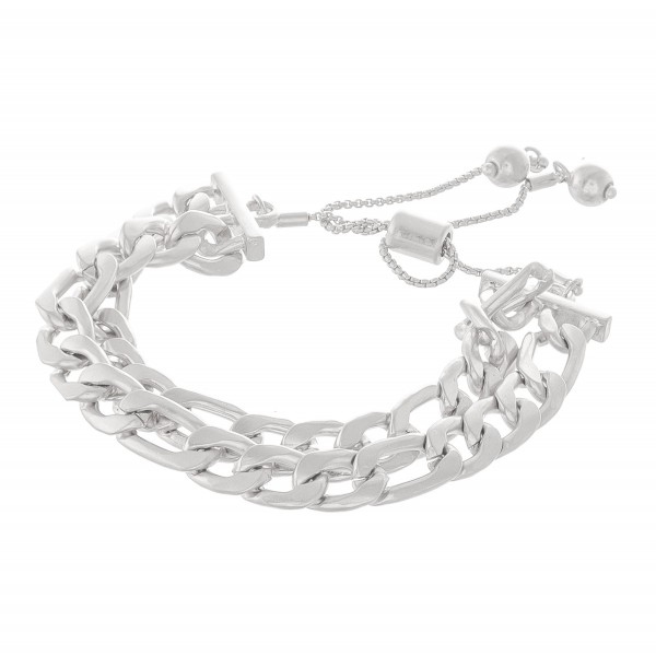 "Curb Chain Link Bolo Bracelet in Worn Silver.  - Approximately 3"" in diameter - Fits up to an 8"" wrist"