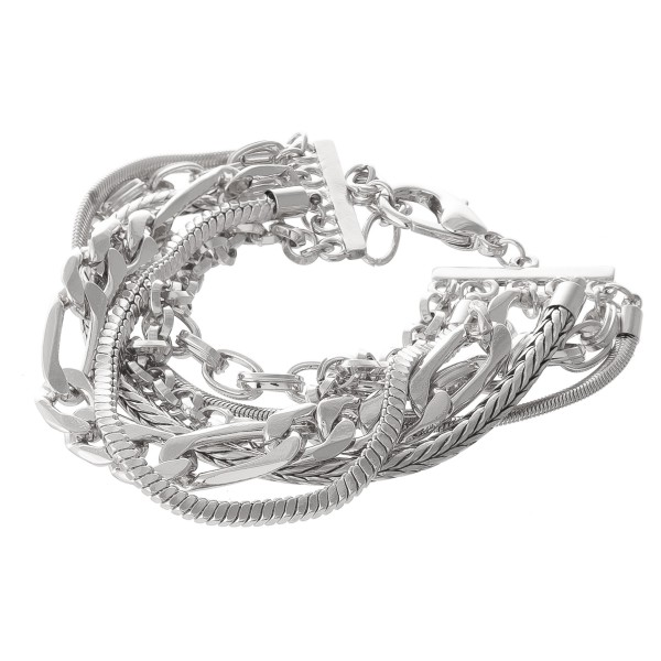 "Chain Link Layered Bracelet.  - Approximately 3"" in diameter  - Fits up to a 7"" wrist - 1"" Adjustable Extender"