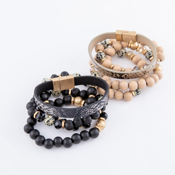 "Wood Beaded Stackable Stretch Bracelet Set with Faux Leather Snakeskin Magnetic Strand and Natural Stone Details.  - 4pcs/set - Stretchy / Magnetic - Approximately 3"" in diameter - Fits up to a 7"" wrist"